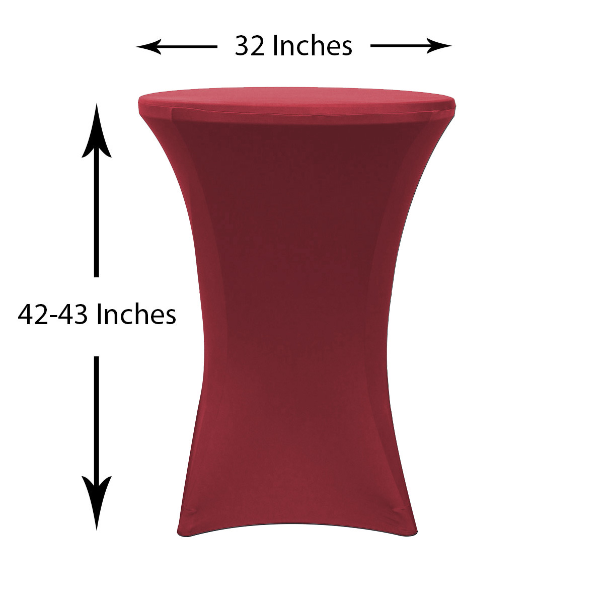 Beau 32 Inch Highboy Cocktail Spandex Table Covers Burgundy