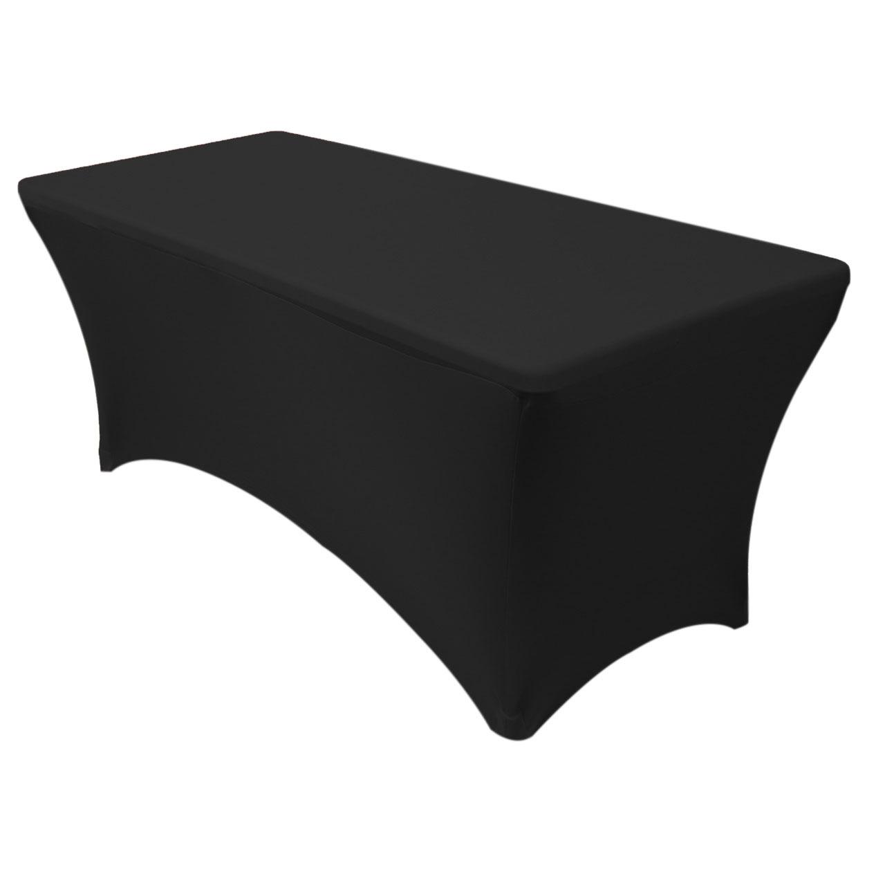 6ft rectangular spandex tablecloth black