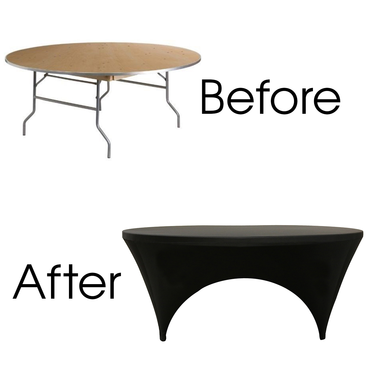 Round Sides Open Spandex Table Cover Specifications